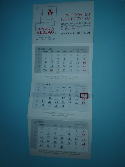 Kalendarz trójdzielny Fundacji Elbląg