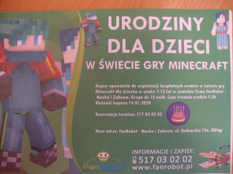 Zaproszenie na urodziny dla dzieci w świecie gry minecraft