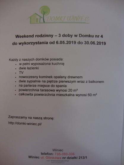 Zaproszenie na weekend rodzinny - 3 doby w Domku nr 4